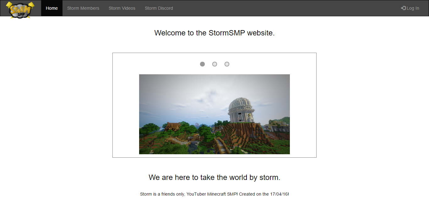StormSMP website preview